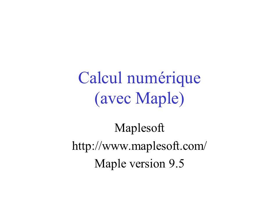 Séquences particulières La somme : > a:=Sum(i, i=1..10); b:=sum(i, i=1..10); evalf(a); Le produit : > a:=Product(i^2, i=1..10); b:=product(i^2, i=1..10); evalf(a);