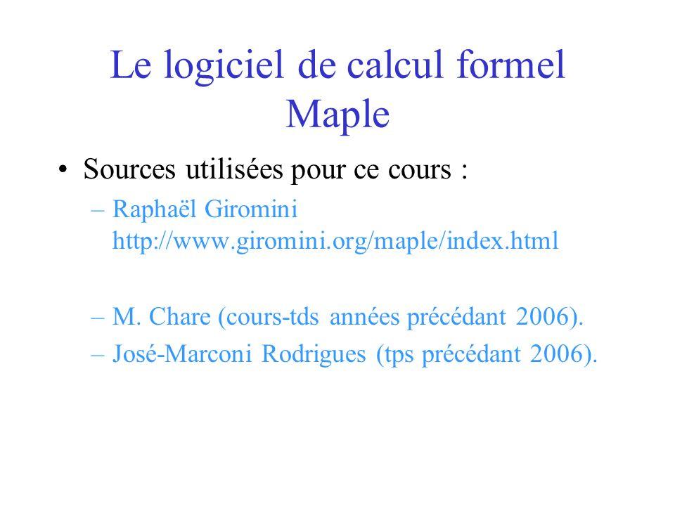 Le logiciel de calcul formel Maple Sources utilisées pour ce cours : –Raphaël Giromini http://www.giromini.org/maple/index.html –M. Chare (cours-tds a