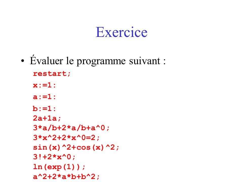 Exercice Évaluer le programme suivant : restart; x:=1: a:=1: b:=1: 2a+1a; 3*a/b+2*a/b+a^0; 3*x^2+2*x^0=2; sin(x)^2+cos(x)^2; 3!+2*x^0; ln(exp(1)); a^2