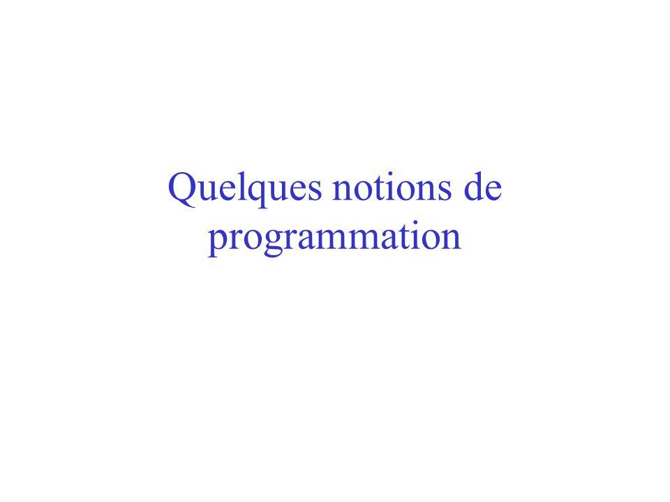 Quelques notions de programmation