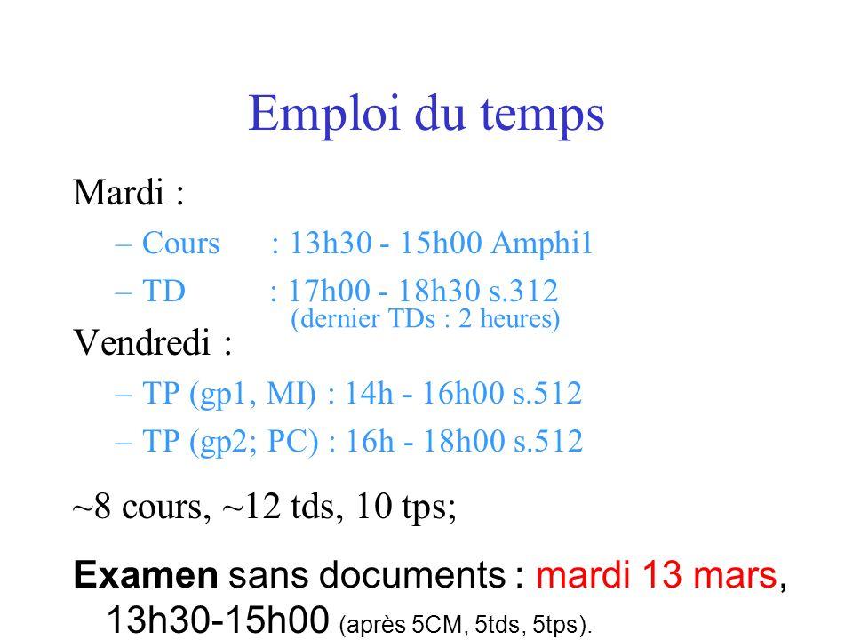 Emploi du temps Mardi : –Cours : 13h30 - 15h00 Amphi1 –TD : 17h00 - 18h30 s.312 Vendredi : –TP (gp1, MI) : 14h - 16h00 s.512 –TP (gp2; PC) : 16h - 18h