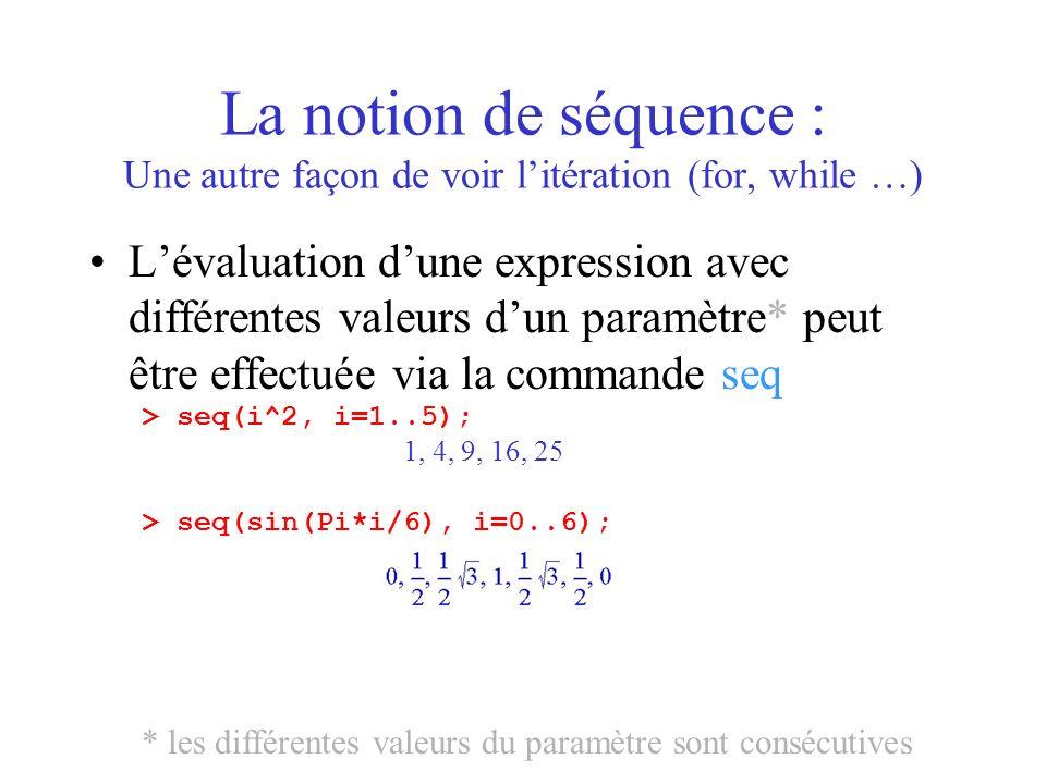 La notion de séquence : Une autre façon de voir litération (for, while …) Lévaluation dune expression avec différentes valeurs dun paramètre* peut êtr
