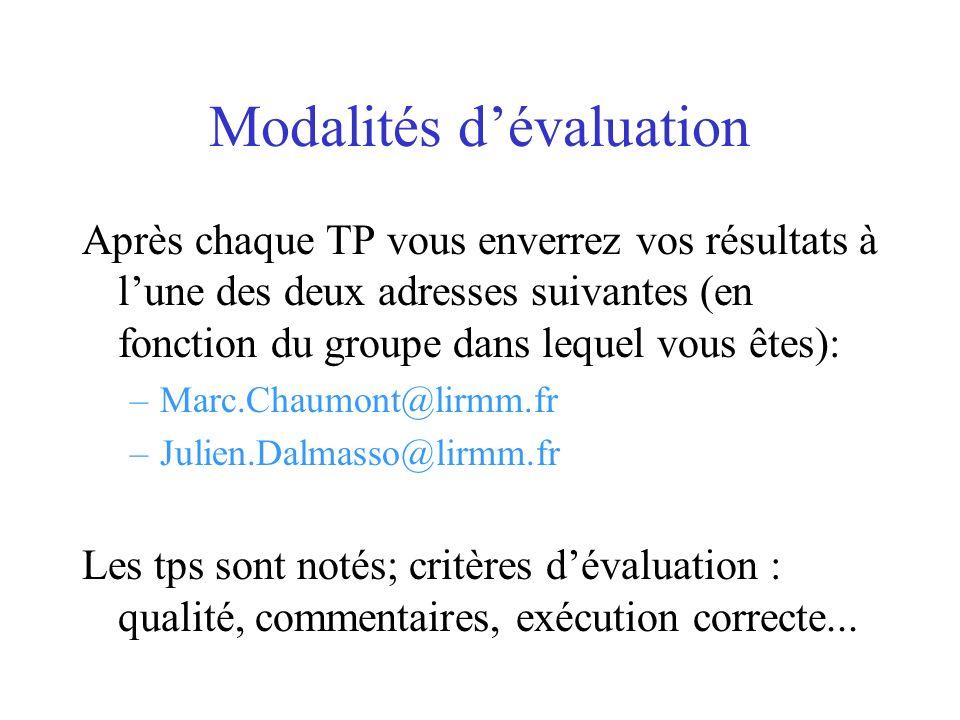 Modalités dévaluation Après chaque TP vous enverrez vos résultats à lune des deux adresses suivantes (en fonction du groupe dans lequel vous êtes): –M