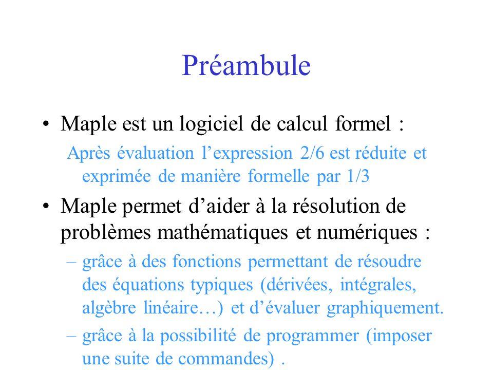 Maple est un logiciel de calcul formel : Après évaluation lexpression 2/6 est réduite et exprimée de manière formelle par 1/3 Maple permet daider à la
