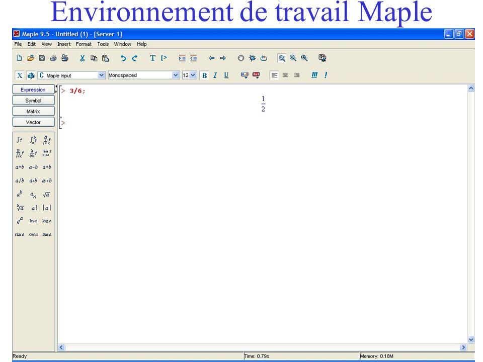 Quelques commandes de base Il y a à la fin de chaque commande : –Soit un point-virgule ; –Soit deux points : Le fait de taper sur la touche [entrée] indique à Maple quil faut évaluer lexpression (ou exécuter la commande).