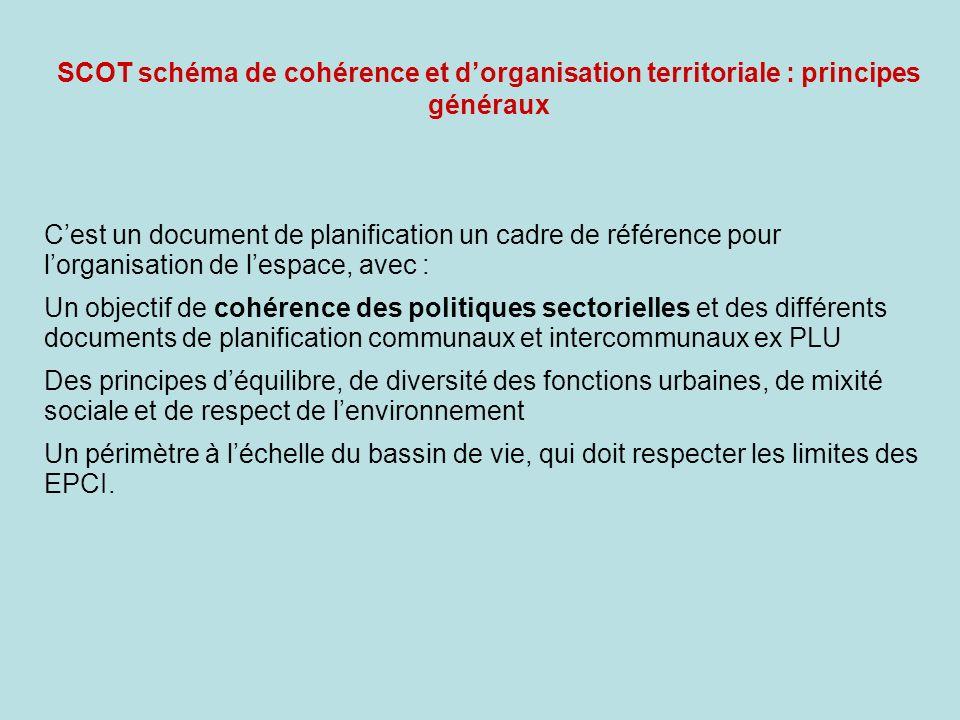 SCOT schéma de cohérence et dorganisation territoriale : principes généraux Cest un document de planification un cadre de référence pour lorganisation