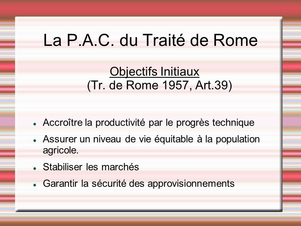 La P.A.C. du Traité de Rome Objectifs Initiaux (Tr. de Rome 1957, Art.39) Accroître la productivité par le progrès technique Assurer un niveau de vie