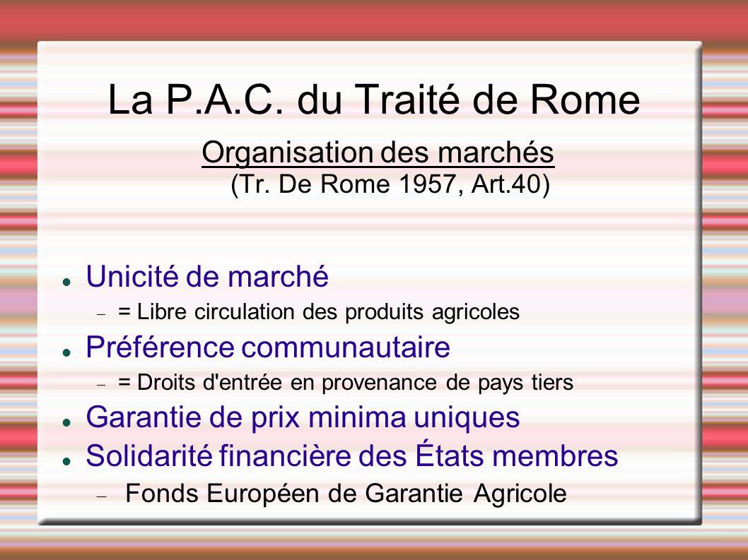 La P.A.C. du Traité de Rome Organisation des marchés (Tr. De Rome 1957, Art.40) Unicité de marché = Libre circulation des produits agricoles Préférenc