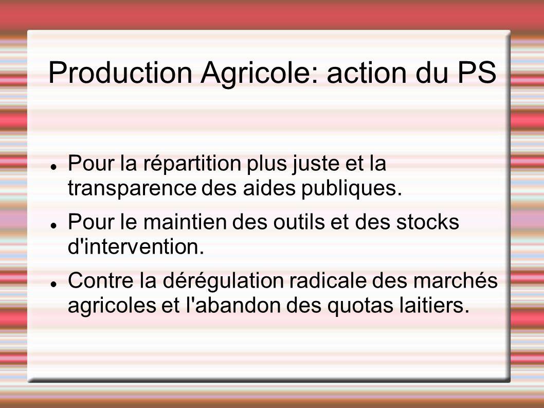 Production Agricole: action du PS Pour la répartition plus juste et la transparence des aides publiques. Pour le maintien des outils et des stocks d'i