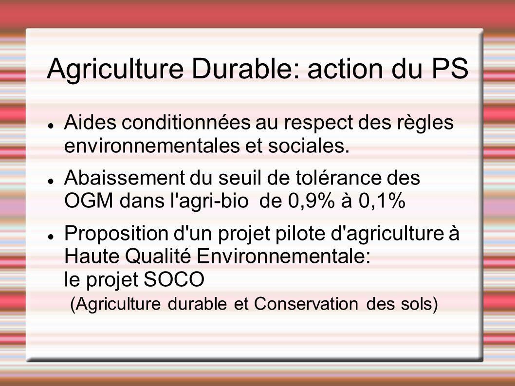 Agriculture Durable: action du PS Aides conditionnées au respect des règles environnementales et sociales. Abaissement du seuil de tolérance des OGM d