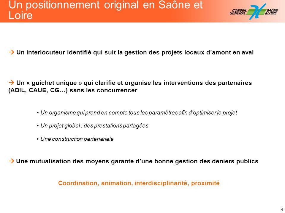 4 Un positionnement original en Saône et Loire Un interlocuteur identifié qui suit la gestion des projets locaux damont en aval Un « guichet unique »