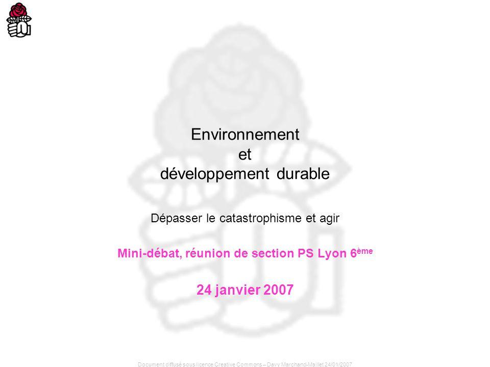 Document diffusé sous licence Creative Commons – Davy Marchand-Maillet 24/01/2007 Environnement et développement durable Dépasser le catastrophisme et