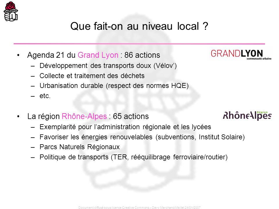 Document diffusé sous licence Creative Commons – Davy Marchand-Maillet 24/01/2007 Que fait-on au niveau local ? Agenda 21 du Grand Lyon : 86 actions –