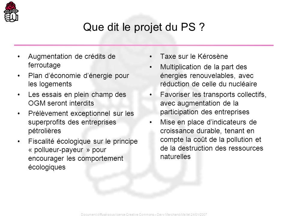 Document diffusé sous licence Creative Commons – Davy Marchand-Maillet 24/01/2007 Que dit le projet du PS ? Augmentation de crédits de ferroutage Plan