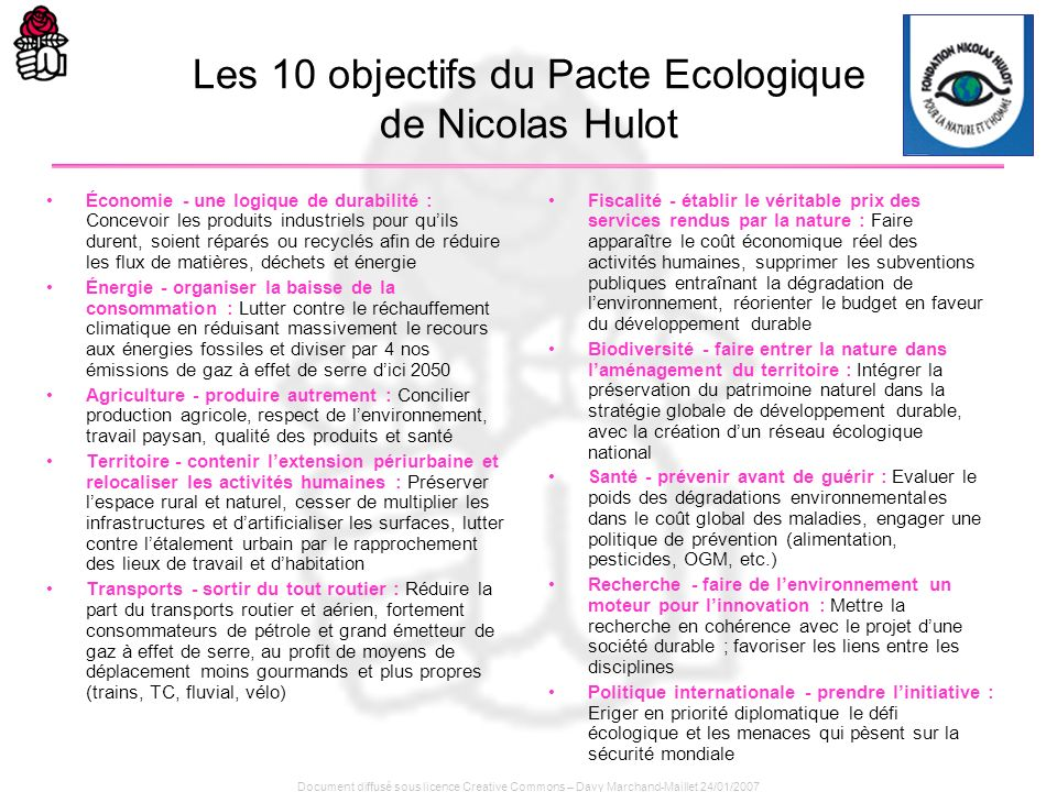 Document diffusé sous licence Creative Commons – Davy Marchand-Maillet 24/01/2007 Les 10 objectifs du Pacte Ecologique de Nicolas Hulot Économie - une