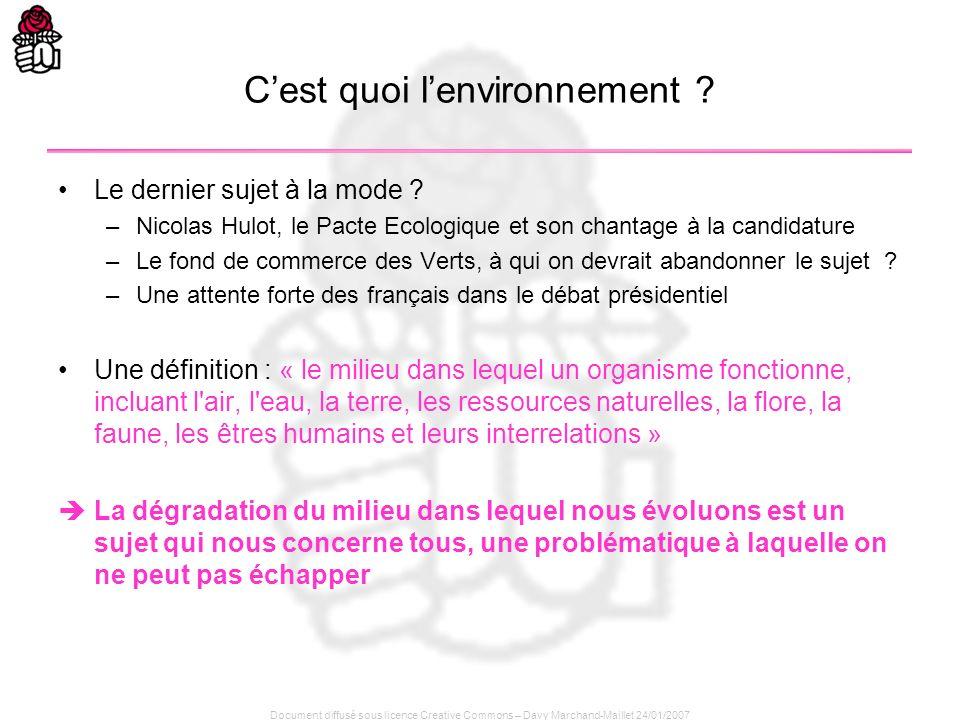 Document diffusé sous licence Creative Commons – Davy Marchand-Maillet 24/01/2007 Cest quoi lenvironnement ? Le dernier sujet à la mode ? –Nicolas Hul