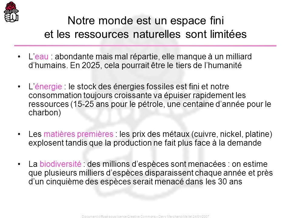 Document diffusé sous licence Creative Commons – Davy Marchand-Maillet 24/01/2007 Notre monde est un espace fini et les ressources naturelles sont lim