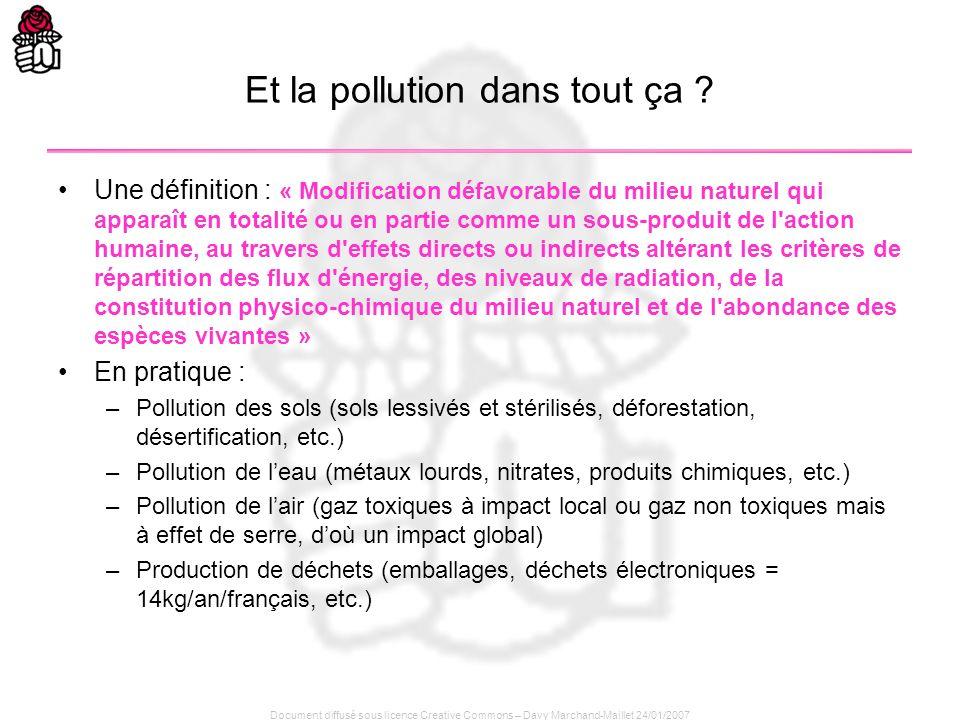 Document diffusé sous licence Creative Commons – Davy Marchand-Maillet 24/01/2007 Et la pollution dans tout ça ? Une définition : « Modification défav