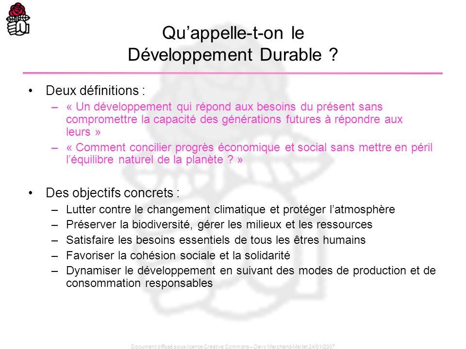 Document diffusé sous licence Creative Commons – Davy Marchand-Maillet 24/01/2007 Quappelle-t-on le Développement Durable ? Deux définitions : –« Un d