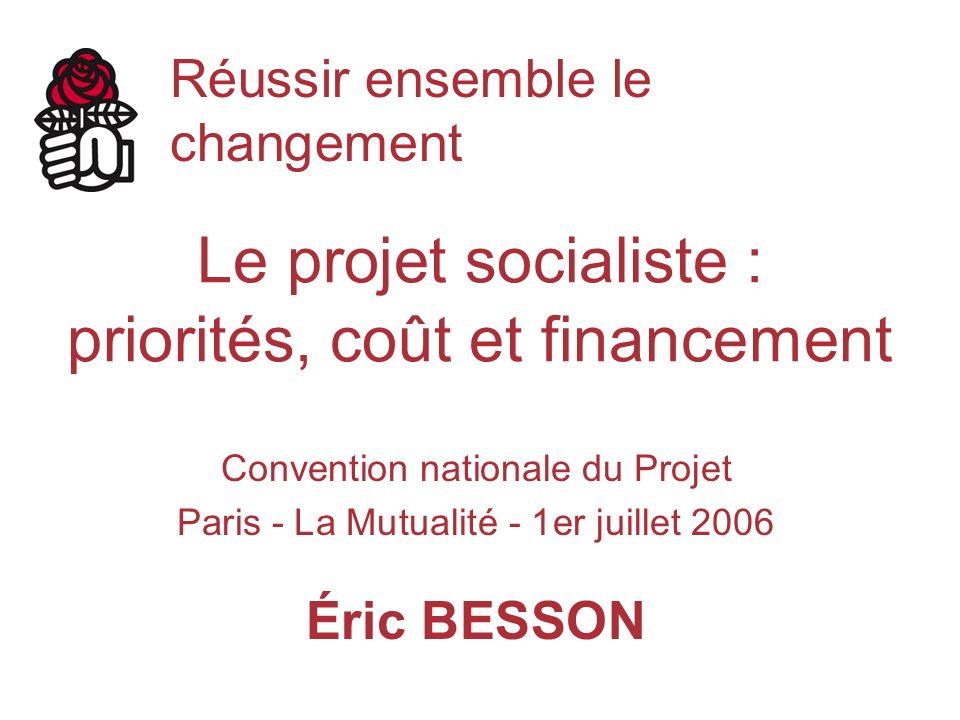 Le projet socialiste : priorités, coût et financement Convention nationale du Projet Paris - La Mutualité - 1er juillet 2006 Éric BESSON Réussir ensemble le changement