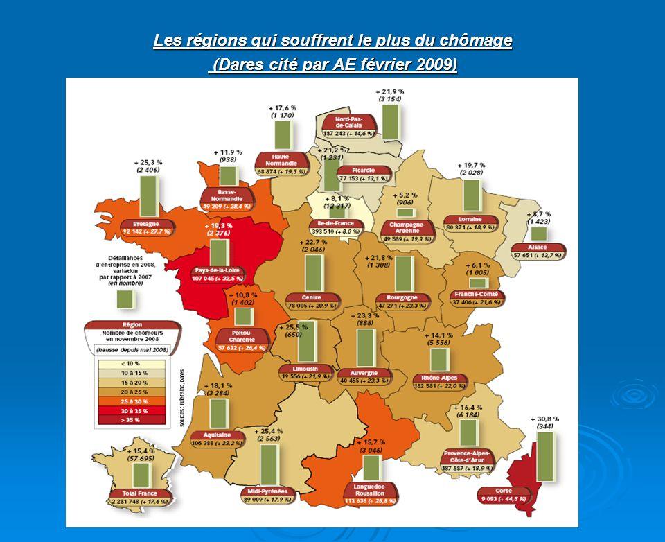 Les régions qui souffrent le plus du chômage (Dares cité par AE février 2009) (Dares cité par AE février 2009)