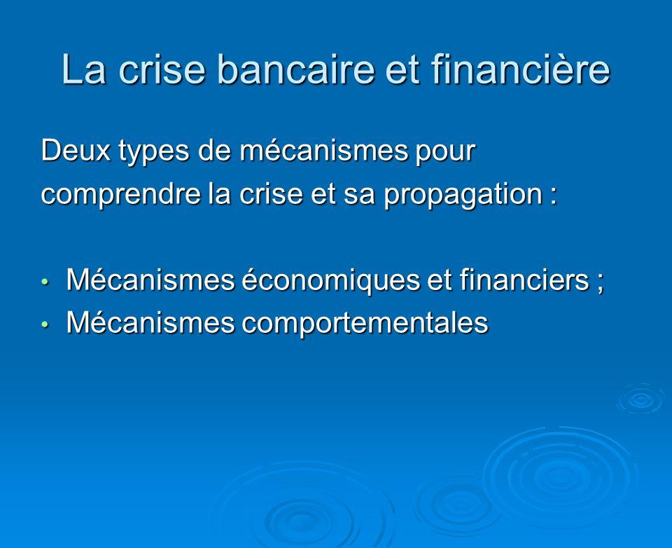 La crise bancaire et financière Deux types de mécanismes pour comprendre la crise et sa propagation : Mécanismes économiques et financiers ; Mécanismes économiques et financiers ; Mécanismes comportementales Mécanismes comportementales