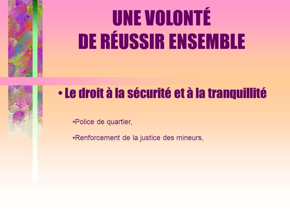 Le droit à la sécurité et à la tranquillité Police de quartier, Renforcement de la justice des mineurs, UNE VOLONTÉ DE RÉUSSIR ENSEMBLE