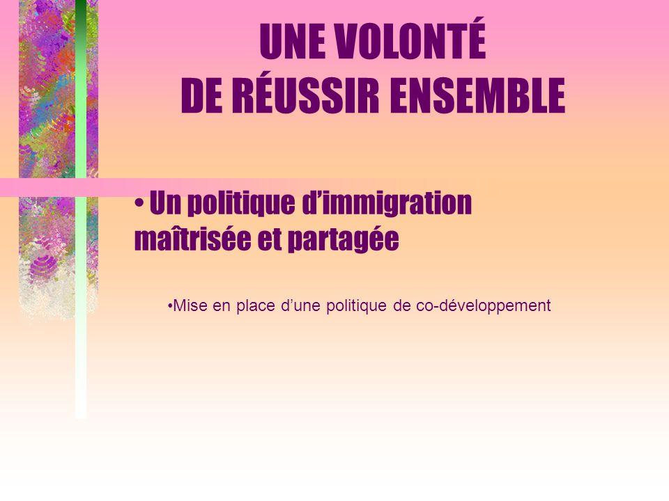 Un politique dimmigration maîtrisée et partagée Mise en place dune politique de co-développement UNE VOLONTÉ DE RÉUSSIR ENSEMBLE