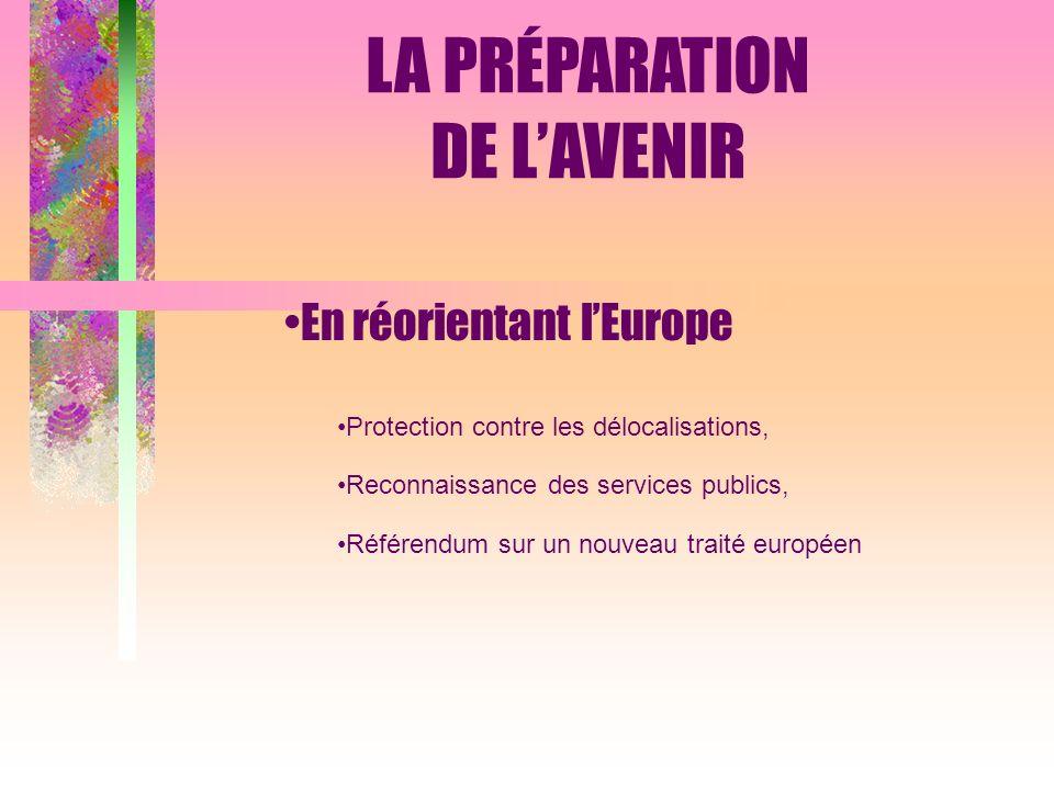 En réorientant lEurope Protection contre les délocalisations, Reconnaissance des services publics, Référendum sur un nouveau traité européen LA PRÉPARATION DE LAVENIR