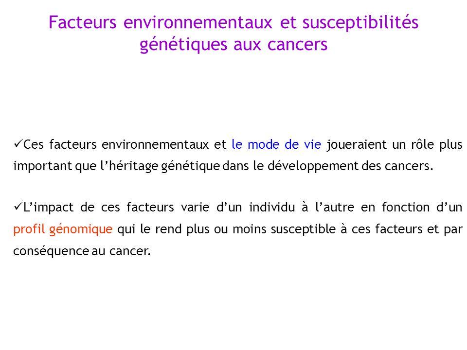 Facteurs environnementaux et susceptibilités génétiques aux cancers Ces facteurs environnementaux et le mode de vie joueraient un rôle plus important