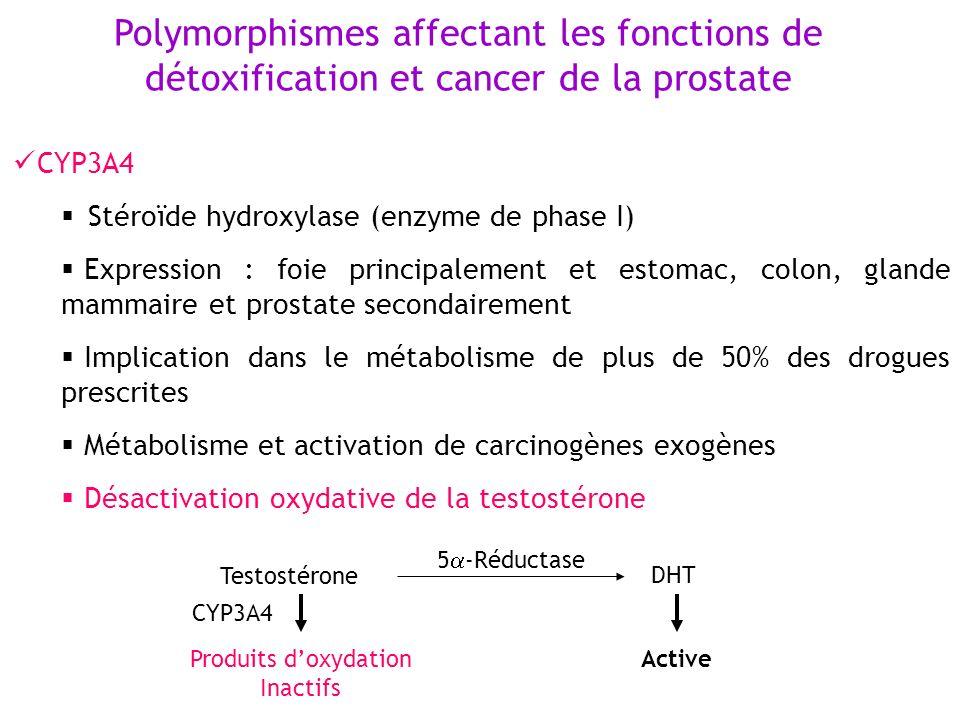 Polymorphismes affectant les fonctions de détoxification et cancer de la prostate CYP3A4 Stéroïde hydroxylase (enzyme de phase I) Expression : foie pr