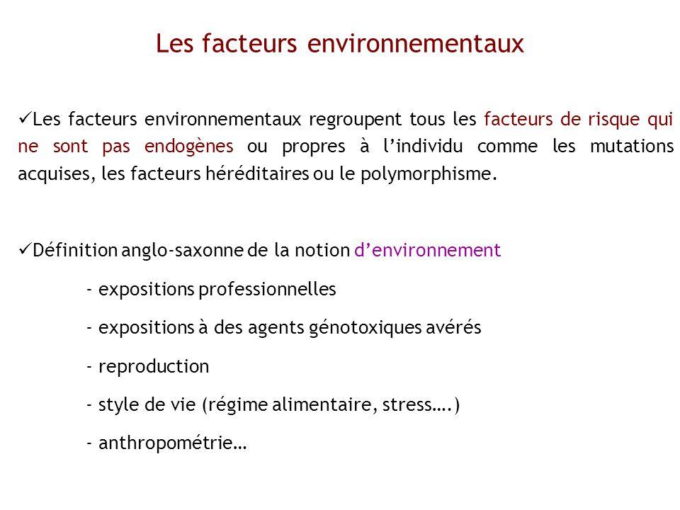 Les facteurs environnementaux regroupent tous les facteurs de risque qui ne sont pas endogènes ou propres à lindividu comme les mutations acquises, le