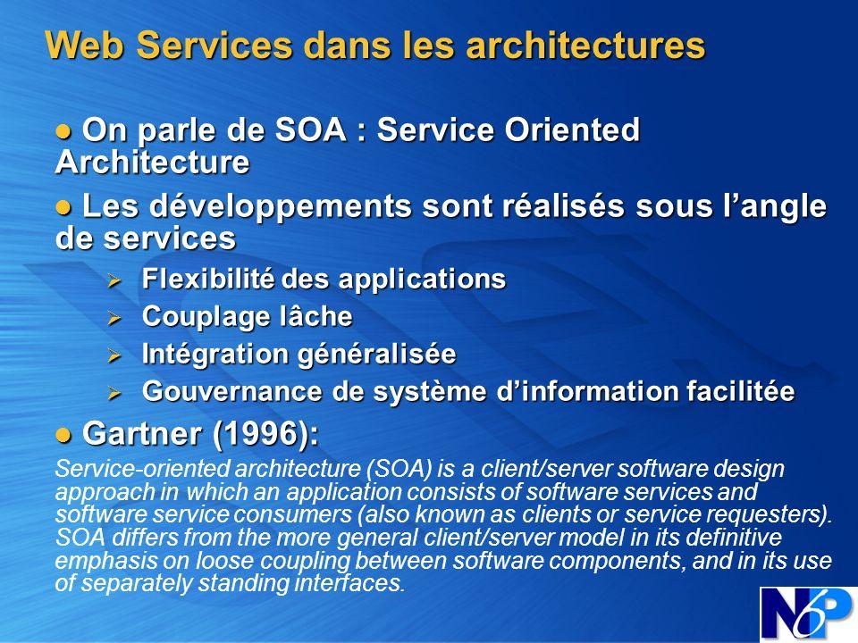 Web Services dans les architectures On parle de SOA : Service Oriented Architecture On parle de SOA : Service Oriented Architecture Les développements