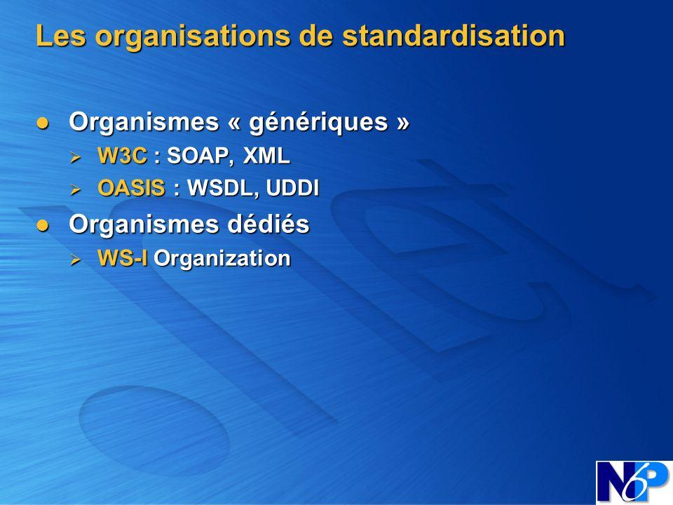 Les organisations de standardisation Organismes « génériques » Organismes « génériques » W3C : SOAP, XML W3C : SOAP, XML OASIS : WSDL, UDDI OASIS : WS