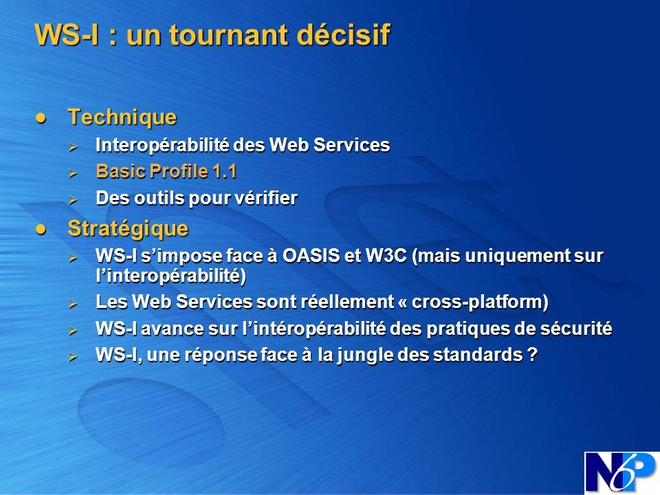 WS-I : un tournant décisif Technique Technique Interopérabilité des Web Services Interopérabilité des Web Services Basic Profile 1.1 Basic Profile 1.1