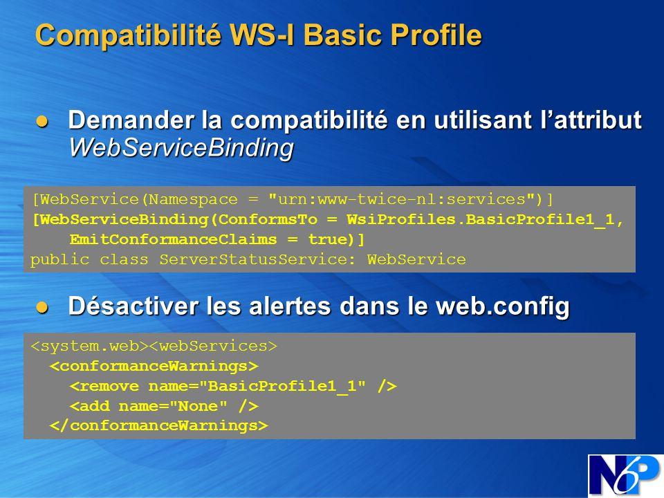Compatibilité WS-I Basic Profile Demander la compatibilité en utilisant lattribut WebServiceBinding Demander la compatibilité en utilisant lattribut W