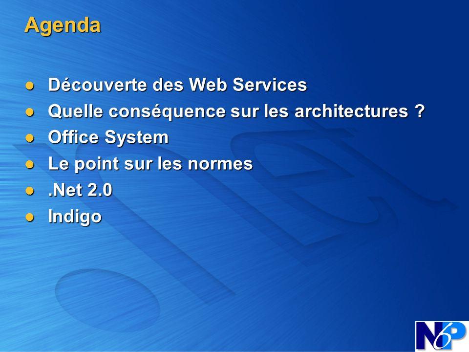 Agenda Découverte des Web Services Découverte des Web Services Quelle conséquence sur les architectures ? Quelle conséquence sur les architectures ? O