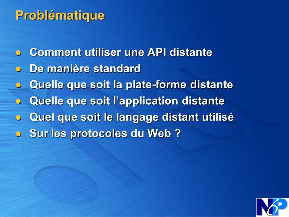 Problématique Comment utiliser une API distante Comment utiliser une API distante De manière standard De manière standard Quelle que soit la plate-for