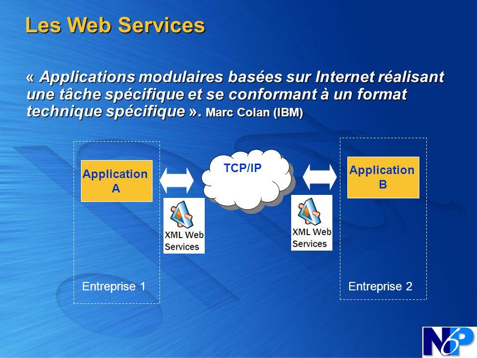 Les Web Services « Applications modulaires basées sur Internet réalisant une tâche spécifique et se conformant à un format technique spécifique ». Mar