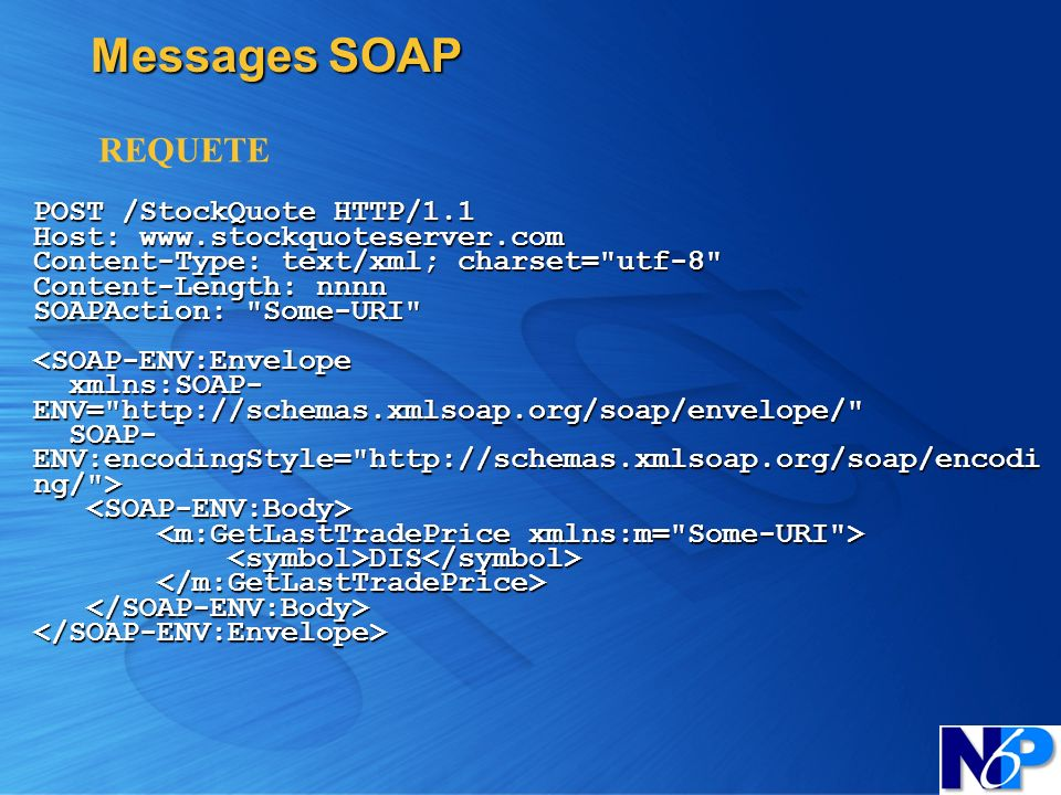Messages SOAP POST /StockQuote HTTP/1.1 Host: www.stockquoteserver.com Content-Type: text/xml; charset=