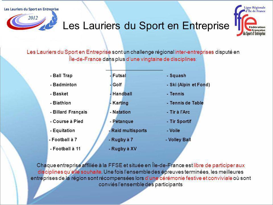 Les Lauriers du Sport en Entreprise Les Lauriers du Sport en Entreprise sont un challenge régional inter-entreprises disputé en Île-de-France dans plus dune vingtaine de disciplines : Chaque entreprise affiliée à la FFSE et située en Île-de-France est libre de participer aux disciplines quelle souhaite.