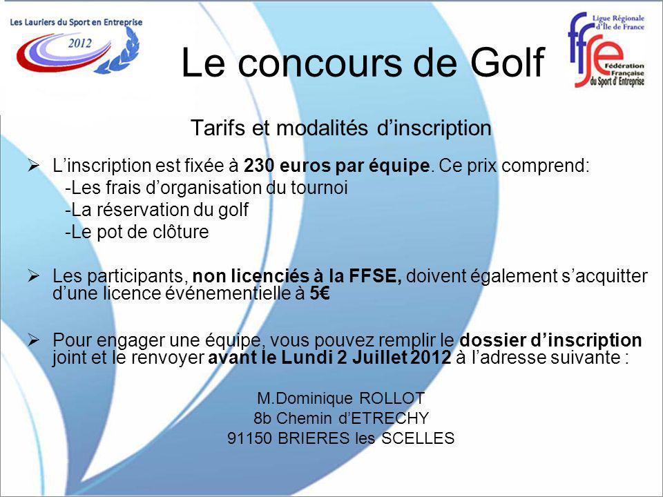 Le concours de Golf Tarifs et modalités dinscription Linscription est fixée à 230 euros par équipe.