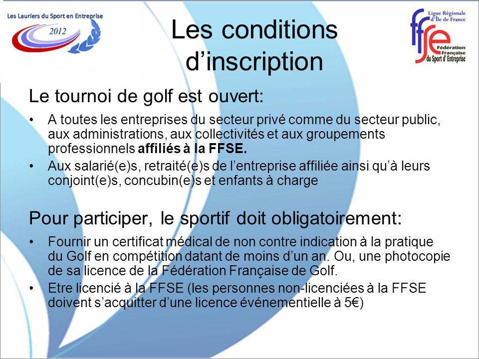 Les conditions dinscription Le tournoi de golf est ouvert: A toutes les entreprises du secteur privé comme du secteur public, aux administrations, aux collectivités et aux groupements professionnels affiliés à la FFSE.
