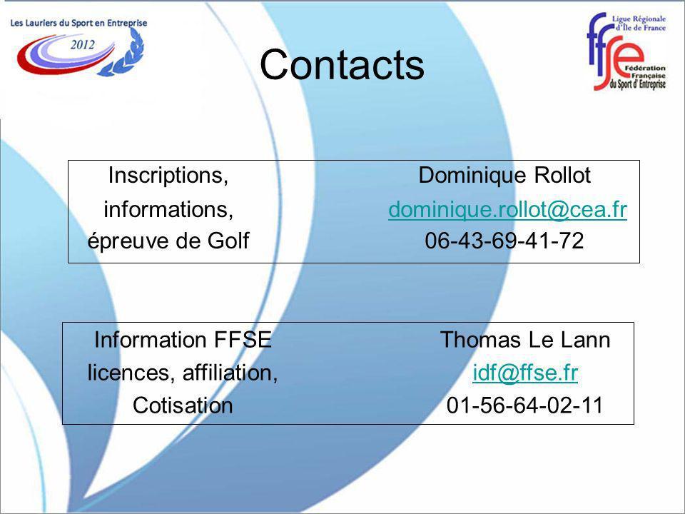 Contacts Inscriptions, Dominique Rollot informations, dominique.rollot@cea.frdominique.rollot@cea.fr épreuve de Golf06-43-69-41-72 Information FFSEThomas Le Lann licences, affiliation,idf@ffse.fridf@ffse.fr Cotisation01-56-64-02-11