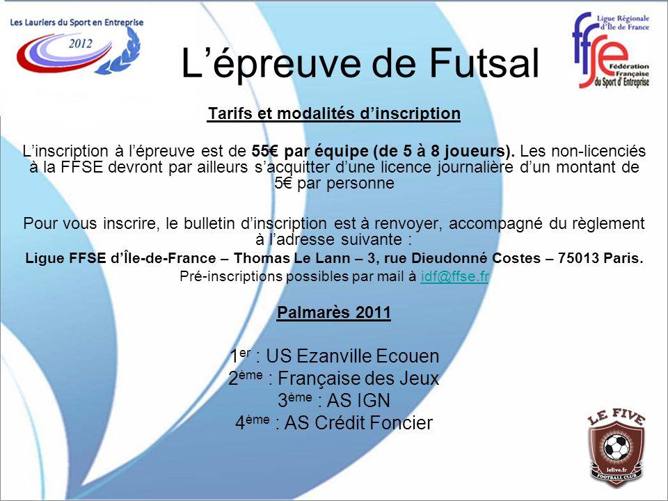 Lépreuve de Futsal Tarifs et modalités dinscription Linscription à lépreuve est de 55 par équipe (de 5 à 8 joueurs). Les non-licenciés à la FFSE devro