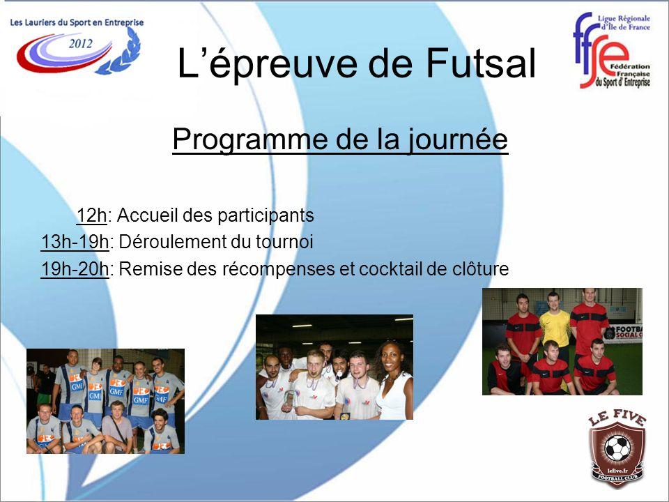 Lépreuve de Futsal Programme de la journée 12h: Accueil des participants 13h-19h: Déroulement du tournoi 19h-20h: Remise des récompenses et cocktail d