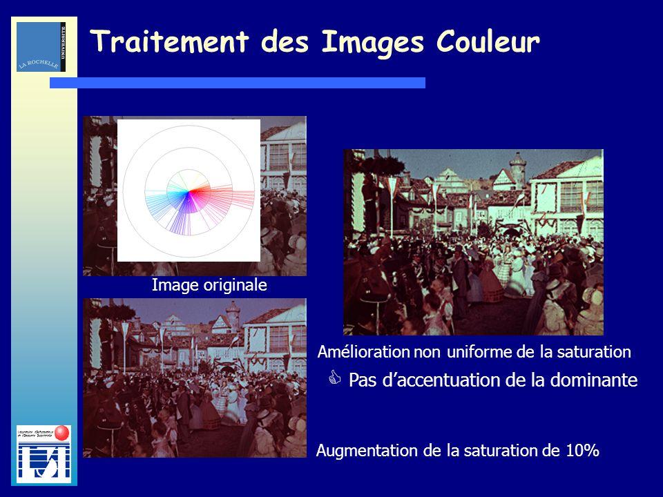 Laboratoire dInformatique et dImagerie Industrielle Traitement des Images Couleur Augmentation de la saturation de 10%Image originale Amélioration non uniforme de la saturation