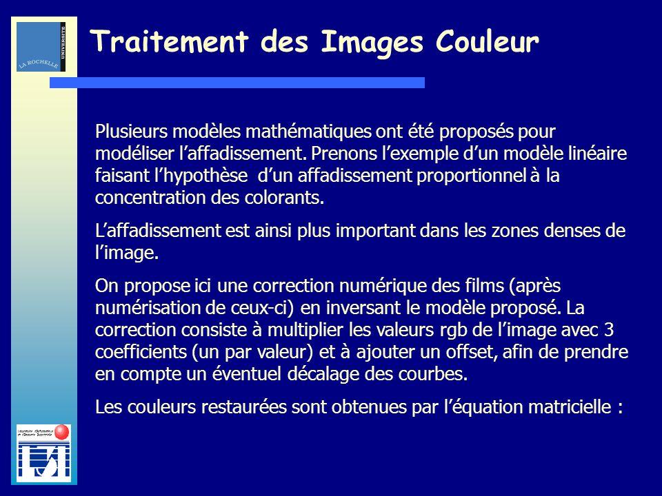Laboratoire dInformatique et dImagerie Industrielle Traitement des Images Couleur Il reste à déterminer les paramètres de la matrice de correction M.