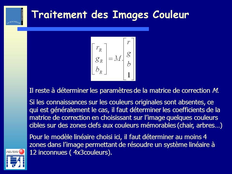 Laboratoire dInformatique et dImagerie Industrielle Traitement des Images Couleur Le choix des zones clefs dans limage joue un rôle crucial dans la qualité de la correction des couleurs de limage.