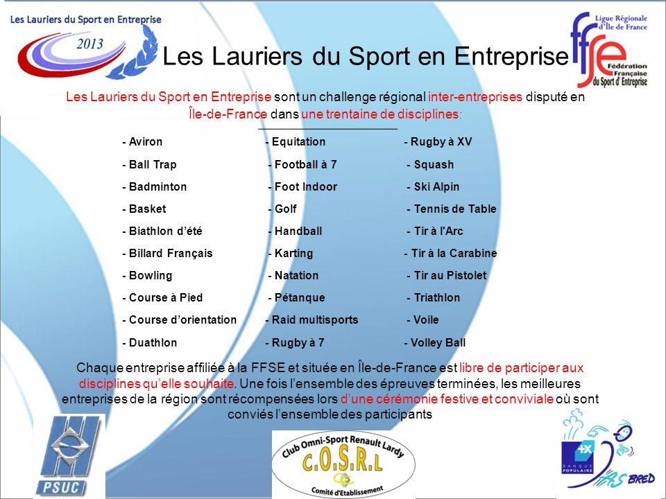 Les Lauriers du Sport en Entreprise Les Lauriers du Sport en Entreprise sont un challenge régional inter-entreprises disputé en Île-de-France dans une trentaine de disciplines : Chaque entreprise affiliée à la FFSE et située en Île-de-France est libre de participer aux disciplines quelle souhaite.